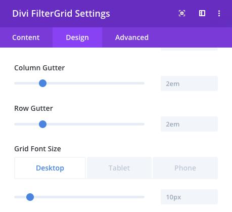 Divi FilterGrid CSS Grid Gap