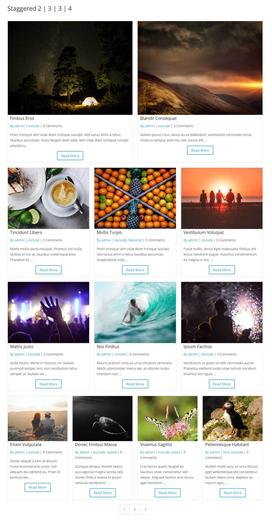 Divi staggered grid items 2-3-3-4