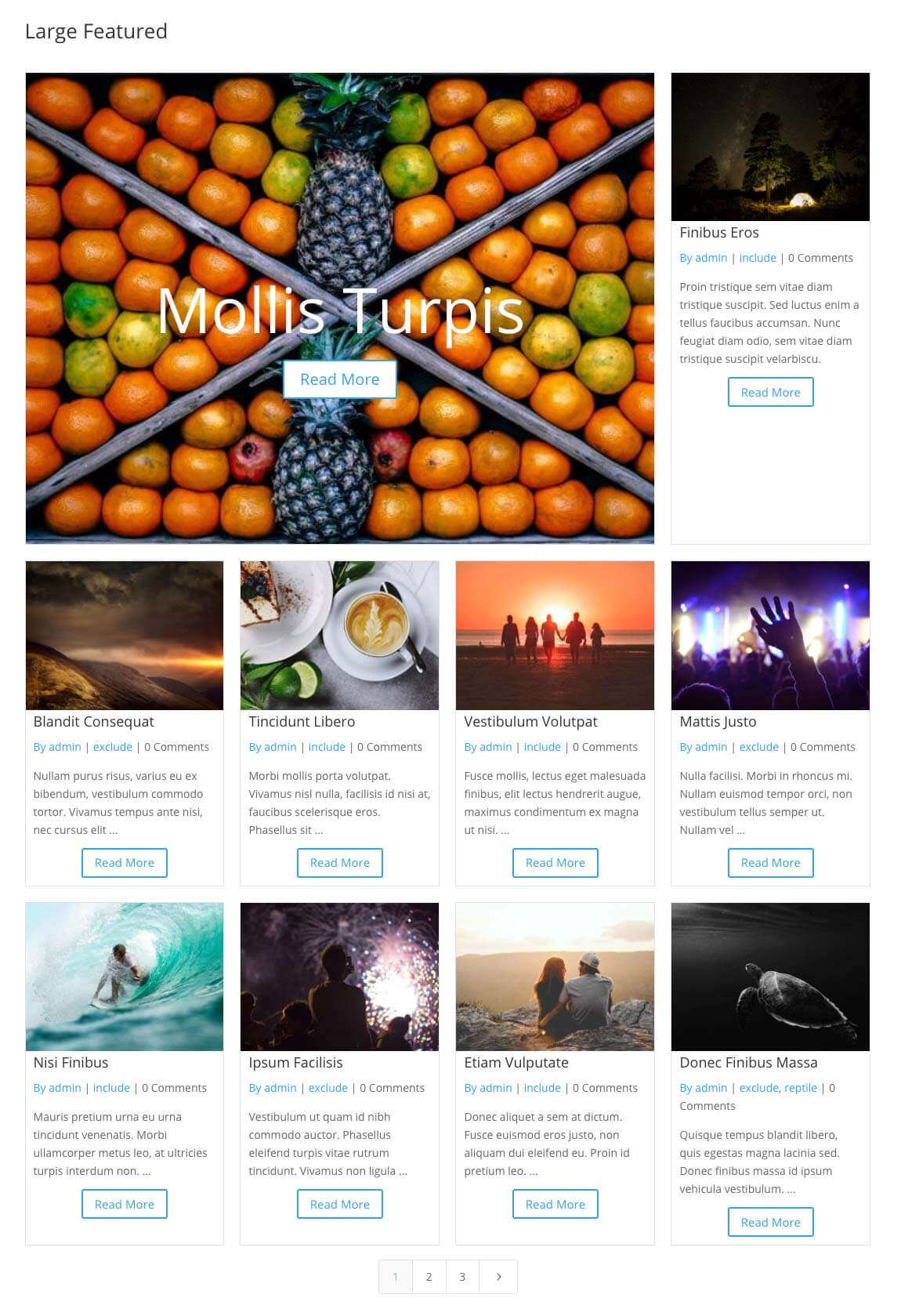 Divi staggered grid items large featured